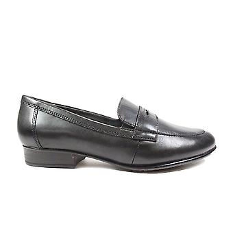 Tamaris 24215 Black Leather Womens Slip On Loafer Shoes