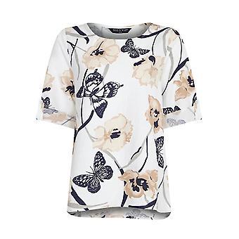 VIZ-A-VIZ Ivory Floral Print Top