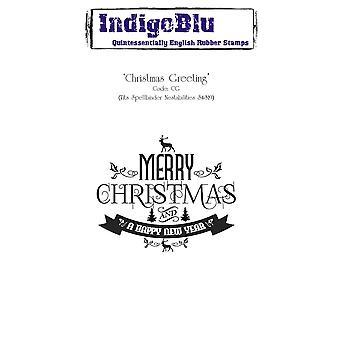 Saudação de Natal IndigoBlu Montada A6 Carimbo de borracha