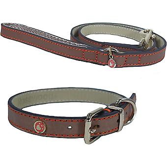 Rosewood Luxury Leather Collar - Brown - 1/2 inch x 10-14 inch