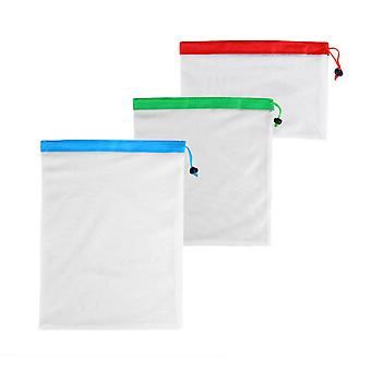 3PCS Polyester Mesh Fruit Bags Small + Medium + Large
