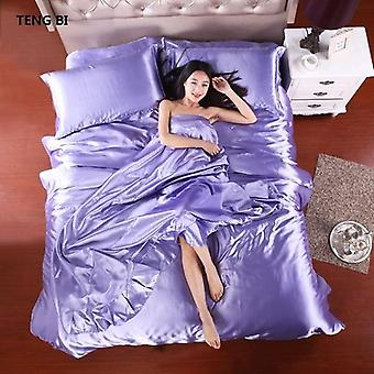 100% Pure Satin Silk Bedding Set, Home Textile King Size Bed Set, Bedding,