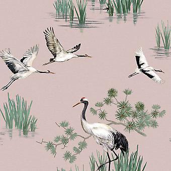 Heath Cranes Wallpaper Pink Holden 91153