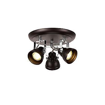 Luminosa Lighting - Verstelbare Ronde Spot, 3 x GU10 (Max 10W LED), Geoliede Brons, Gepolijst chroom