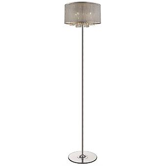 4 Lichte vloerlamp zilver, kristalglas, G9