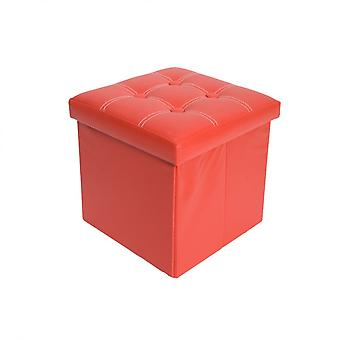 Rebecca Furniture Pouff Feet Cube Stool Paded Red Ecopelle 38x38x38