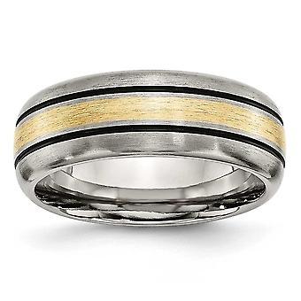 Titaani uurrettu harjattu kiillotettu kaiverroitu viimeistely 14k kultainen inlay 8mm harja / bändi korut lahjat naisille - rengas koko: 8