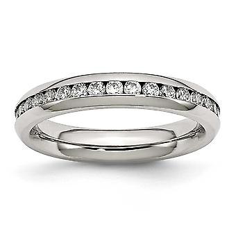 Rustfrit stål poleret 4mm April Klar CZ Cubic Zirconia simuleret Diamond Ring smykker Gaver til kvinder - Ring Størrelse: 6