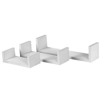 6 Piece U Shaped Floating Shelves Set - Wooden Book CD DVD Wall Storage Display Shelf - White - 3 Sizes