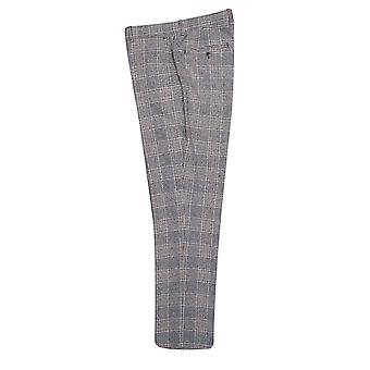 Cream With Navy & Brown Prince of Wales Check Suit Trousers