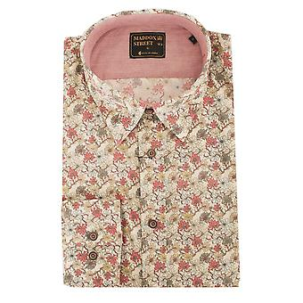 Maddox Street Rouge Floral Print Long Sleeve Cotton Mens Shirt