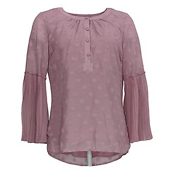 Isaac Mizrahi Live! Women's Top Blouse With Pleated Sleeves Pink A351098