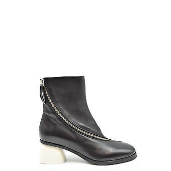 Halmanera Ezbc462001 Women's Black Leather Ankle Boots