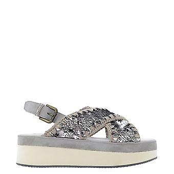 Mou Musw261001gseqgu Women's Silver Leather Sandals