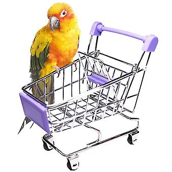 Colorful Mini Supermarket Shopping Cart, Trolley, Pet Bird Parrot, Hamster Toy
