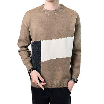 Yunyun Men's Stitching Round Neck Slim Fit Classic Warm Casual Sweater
