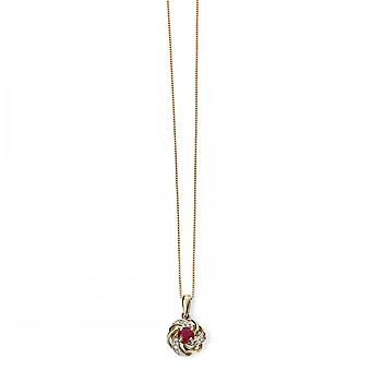 Elements Gold Elements 9ct Yellow Gold Ruby And Diamond Cluster Pendant GP977R