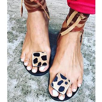 Summer Strap Sandals Flats Open Toe Leopard Casual Schoenen