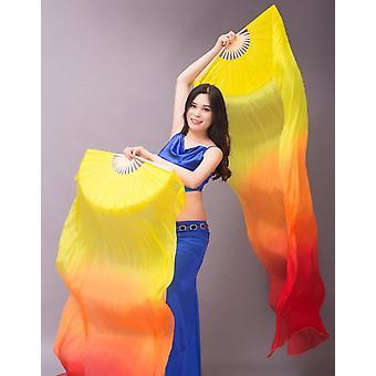 رخيصة الرقص الشرقي مروحة الحجاب التدرج لون راقصة ممارسة الدعائم مروحة طويلة