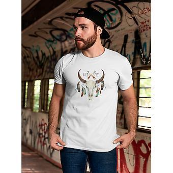 Boho krowa czaszka dziki wolna Tee mężczyzn-obraz przez Shutterstock