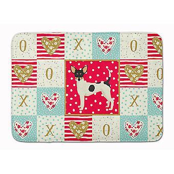 Caroline's Treasures Toy Fox Terrier Love Machine Lavabile Memory Foam Mat zerbini, Multicolor