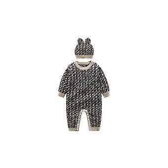 Dieťa zimné teplý pletený sveter prúžok s dlhým rukávom Cardigan Romper a klobúk set