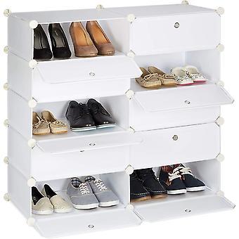 Relaxdays Schuhschrank mit 10 Fchern, Schuhregal gro, Steckregal Kunststoff, DIY, HxBxT ca. 90 x 94