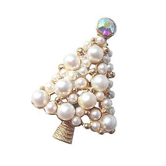 Corsage Christmas Tree Girl Brooch Pearl Brooch Pin