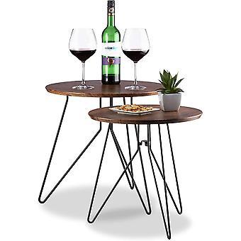 Relaxdays Beistelltisch Vintage, 2er-Set Satztische, Runder Couchtisch, Tischplatte Holzoptik 48cm