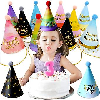 11PCS Party Birthday Hat,Party Hat,Paper Gold Foil Happy Birthday Party Cone Hats,Birthday Paper