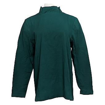 Denim & Co. Women's Top Jersey Mock Neck Long-Sleeve Verde A389884
