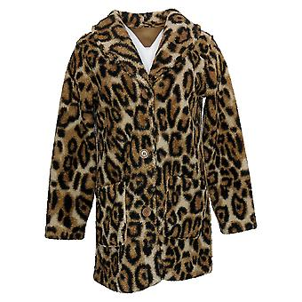 Susan Graver Women's (XXS) Reversible Sherpa & Fleece Coat Brown A383194
