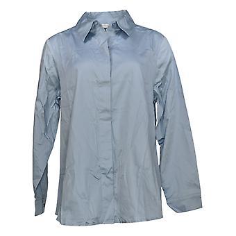 Isaac Mizrahi En direct! Women's Top Button Down Collared Shirt Bleu A378608
