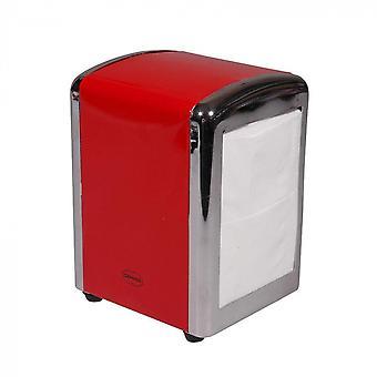 napkin holder 14 cm steel/chrome red