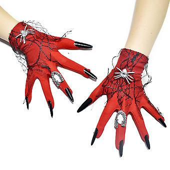 Red Witch Ghost Claws Cosplay Gloves Halloween Costume
