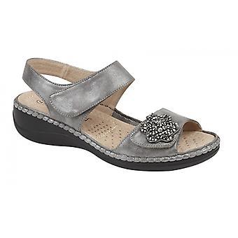 Boulevard Ellie Ladies Touch Fasten Sandals Pewter/silver