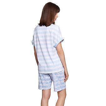 Rösch Smart Casual 1213049-16407 Kvinner's Glacier Ringlet Stripet Bomull Pyjamas Sett
