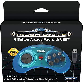 Official SEGA Mega Drive USB 6-Button Controller for MEGA DRIVE MINI CONSOLE, PC, Switch, Mac,