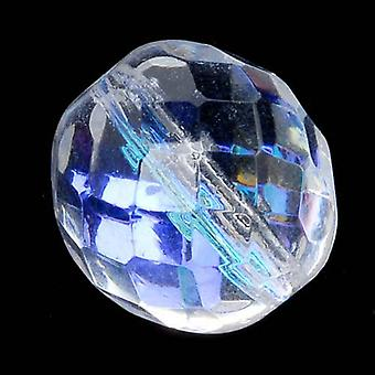Czech Fire Polished Glass Beads 14mm Round Crystal AB (8)