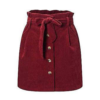 Осень - Зимний женский цветок Bud юбка, Corduroy High Waist Micro Мини юбки