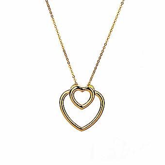 Avec Amour - Collier Dual Hearts Icons - Prolongateur 40cm +3cm - Or Rose - Cadeaux bijoux pour femmes de Lu Bella