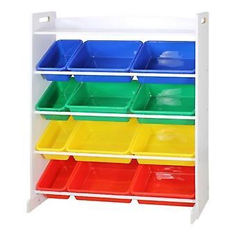 キッズブック/おもちゃ収納、4層プラスチックキャビネットラック