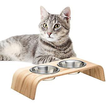 Hölzerner Erhöhter Ständer für eine gesündere Haltung bei Essen für Katzen und Hunde inklusive