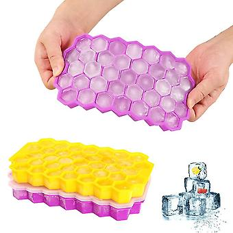 Purple yellow 2 pcs silicone ice cube tray 37 compartment ice cube mold with cover cai1465