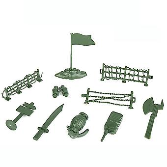 New 10pcs Army Weapon Figures Battlefield Toyset With Axe Knife Green ES12789