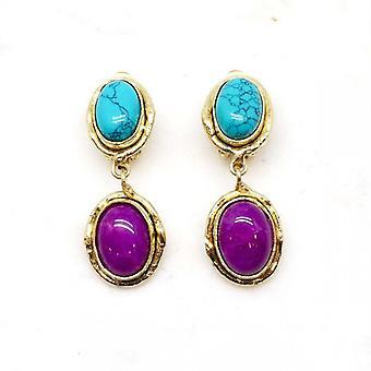 Boucles d'oreilles Niiki Paris - NCE050 - Bleu Turquoise / Bleu - Collection Colors