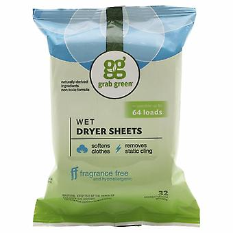 Grab Green Wet Dryer Sheets, Fragrance Free 32 Count