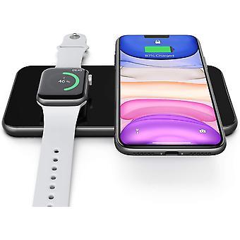 Беспроводное зарядное устройство Pad, беспроводная зарядная док-станция для iWatch 5 / 4 / 3, Airpods 2 / Pro, быстрая беспроводная зарядная площадка для iPhone SE / 11 / 11 Pro / XR / XS Max / XS / X / 8P / 8, Samsung Galaxy S6 до S20 / Note 5 до 10 +, (черный)
