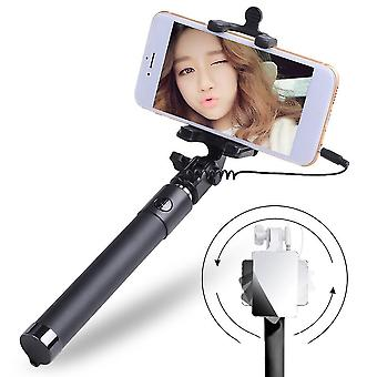 Extendable Selfie Stick Monopod Tripod For Phone Wired Selfy Stick With Mirror