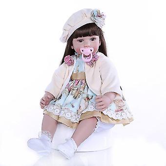 60Cm de vinilo de silicona flexible de alta calidad renacido muñeca niña pequeña con muñeca de pelo castaño largo 6-9m tamaño real del bebé